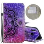 Laser Carving Pattern Printing Wallet Leather Casing with Strap for Huawei P Smart (2019)/Honor 10 Lite – Flower
