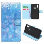 Cross Texture Pattern Printing Flip Leather Wallet Protective Case for Huawei Y6 (2019, with Fingerprint Sensor)/Y6 Prime (2019)/Y6 Pro (2019)/Honor 8A/Enjoy 9e – Snowflakes and Butterflies