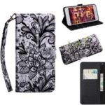 Pattern Printing [Light Spot Decor] Leather Wallet Casing for Huawei Honor 20 Pro – Lace Flower