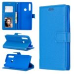 Litchi Skin Wallet Leather Stand Case for Huawei P Smart Z – Blue