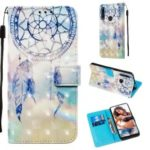 3D Painting Style Leather Phone Shell with Card Wallet Slots for Huawei P Smart Z / Y9 Prime 2019 – Blue Dream Catcher