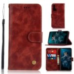 Premium Vintage Leather Wallet Case for Huawei Honor 20 – Wine Red