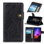 S Shape Crazy Horse Wallet Leather Stand Cover for Motorola Moto E6 – Black