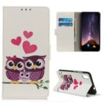 Pattern Printing Leather Wallet Stand Case for Xiaomi Redmi 7A – Owls and Hearts