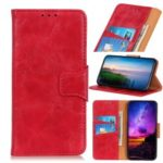 Crazy Horse Texture Magnetic Wallet PU Leather Phone Case for Xiaomi Redmi 7A – Red