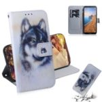 Pattern Printing Leather Wallet Case for Xiaomi Redmi 7A – Black and White Wolf
