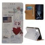 Pattern Printing Leather Wallet Phone Casing for Xiaomi Redmi 7A – US Flag and Cat Holding Heart
