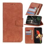 Litchi Skin Leather Wallet Stand Case for Xiaomi Redmi 7A – Brown