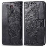 Imprint Butterfly Flower Leather Wallet Case for Xiaomi Redmi K20 / Mi 9T / Redmi K20 Pro / Mi 9T – Black