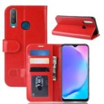 Crazy Horse Wallet Leather Stand Mobile Phone Case for VIVO Y17 / Y3 – Red