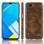 Litchi Texture PU Leather Coated PC Phone Shell for OPPO Realme C2 – Brown