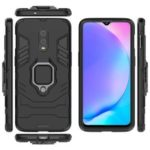 Cool Armor Guard Style Ring Holder Kickstand PC TPU Hybrid Phone Case for OnePlus 7 – Black