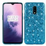 Shiny Sequins Electroplating TPU Frame+PC Phone Protective Case Cover for OnePlus 7 – Cyan