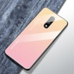 Gradient Color Glass + TPU Hybrid Case for OnePlus 7 – Gold / Pink