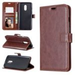 Crazy Horse Wallet Leather Stand Case for OnePlus 7 – Brown