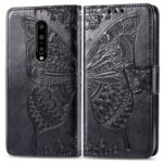 Dual-sided Imprint Butterfly Leather Wallet Stand Phone Case for OnePlus 7 Pro – Black