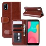 Crazy Horse Style PU Leather Stand Wallet Flip Phone Shell for Wiko Y60 – Brown