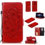 Imprint Mandala Flower Leather Wallet Case for Nokia 4.2 (2019) – Red