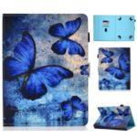 Universal 7-inch Pattern Printing Card Slots Stand Leather Tablet Cover – Blue Butterflies