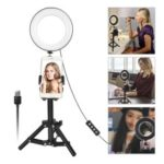 Mini 6-inch Dimmable Ring Light LED Tabletop Lamp with Cell Phone Holder and Metal Tripod Stand for Video Shooting and Makeup etc. – White