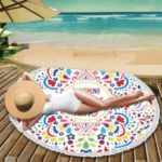 Printed Microfiber Round Beach Towel Tapestry Portable Tassel Blanket – English Letters and Mandala Flower