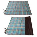 """Moistureproof Picnic Blanket Sleeping Mat Pad Portable for Travel Hiking Outdoor Mountaineering, Size: 55"""" x 67"""" – Blue Grid"""