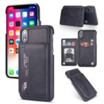 PU Leather Coated PC Card Holder Mobile Phone Cover Case for iPhone XS 5.8 inch / iPhone X – Black