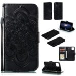 Imprinted Sun Mandala Flower Pattern Leather Wallet Shell for iPhone (2019) 6.5-inch – Black
