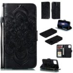 Imprinted Sun Mandala Flower Pattern Leather Wallet Phone Case for iPhone (2019) 5.8-inch – Black