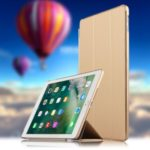 Auto-wake/sleep Tri-fold Stand PU Leather Tablet Shell for iPad 9.7-inch (2018)/(2017) – Gold