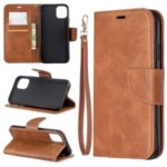 Solid Color PU Leather Wallet Stand Phone Shell for iPhone (2019) 6.1-inch – Brown