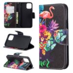 Pattern Printing PU Leather Wallet Stand Phone Cover for iPhone XS 5.8 inch – Flamingos and Flowers