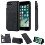 Imprinted Cat Tree Card Holder PU Leather Coated TPU Phone Case Cover for iPhone 7 Plus 5.5 inch / 8 Plus 5.5 inch – Black