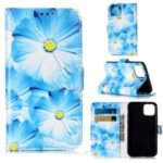 Pattern Printing Leather Wallet Phone Case for iPhone (2019) 5.8-inch – Blue Flowers