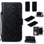 Imprint Malanda Flower Wallet Stand Flip Leather Case with Strap for iPhone 8 Plus/7 Plus 4.7 inch – Black