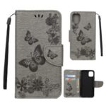 Imprint Butterfly Flower Leather Wallet Case for iPhone (2019) 5.8-inch – Grey