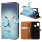 Pattern Printing Leather Wallet Case for Samsung Galaxy A20e – Blue Butterfly