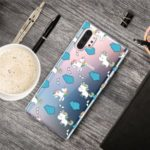 Pattern Printing Clear TPU Cell Phone Case Cover for Samsung Galaxy Note 10 Pro – Unicorn and Clouds