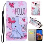 Pattern Printing Flip Leather Wallet Stand Phone Shell for Samsung Galaxy J4 Plus – Elephant