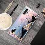 Pattern Printing Clear TPU Cell Phone Cover Case for Samsung Galaxy Note 10 – Girl and Cat