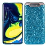 Glittering Sequins Electroplating TPU Frame+PC Phone Case for Samsung Galaxy A80/Galaxy A90 – Cyan