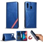 Rainbow Series Auto-absorbed Wallet Stand Leather Phone Shell for Samsung Galaxy A30 – Blue