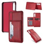 PU Leather + PC Card Holder Kickstand Phone Case for Samsung Galaxy A70 – Red