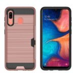 Card Holder Brushed PC + TPU Combo Cell Phone Cover for Samsung Galaxy A30 / A20 – Rose Gold