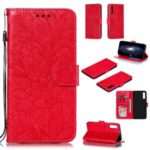 Imprinted Lace Flower Pattern Leather Wallet Stand Case for Samsung Galaxy A50 – Red