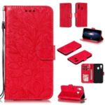 Imprinted Lace Flower Pattern Leather Wallet Stand Phone Case for Samsung Galaxy A40 – Red
