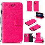 Imprinted Elephant Pattern Leather Wallet Stand Phone Case for Samsung Galaxy A20e – Rose