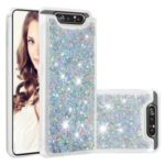 Dynamic Glitter Powder Sequins TPU Back Phone Casing for Samsung Galaxy A90 / A80 – Silver