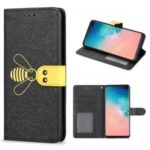 Bee Style Silk Texture Leather Wallet Case for Samsung Galaxy S10 – Black