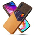 KSQ Phone Shell PC + PU + Cloth Hybrid Back Casing with Card Slot for Samsung Galaxy A70 – Orange